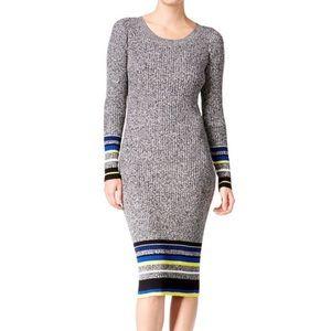 NWOT Bar III Marled Striped Midi Sweater Dress